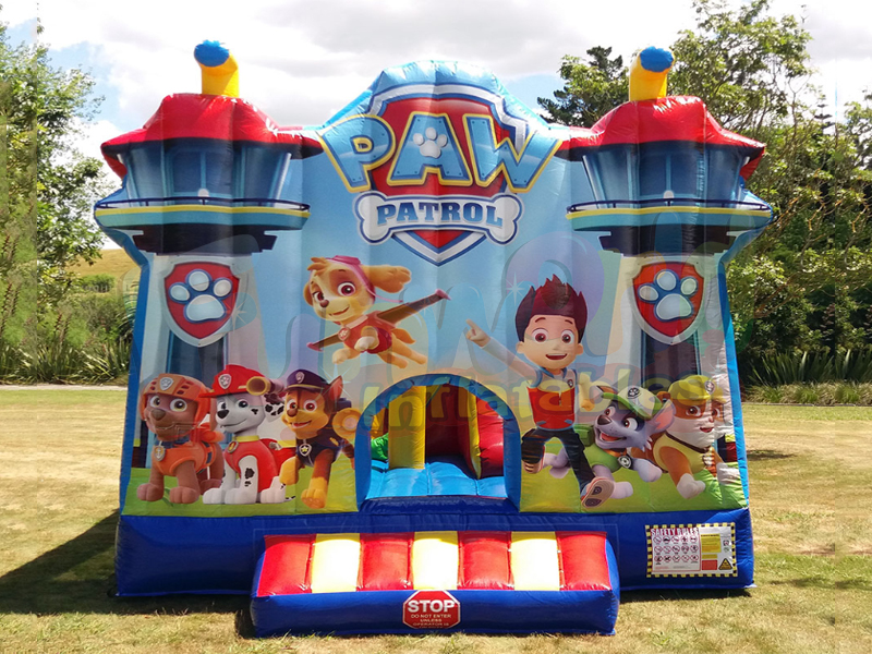 Paw patrol themed slide bouncy castle inflatable combo attractions