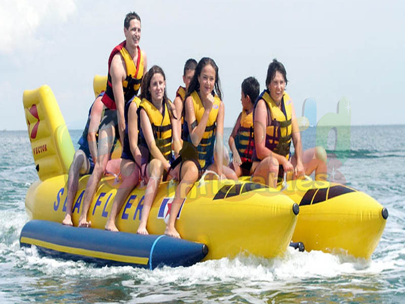 Fishing boat inflatable attraction water double shuttle inflatable flying fish tube