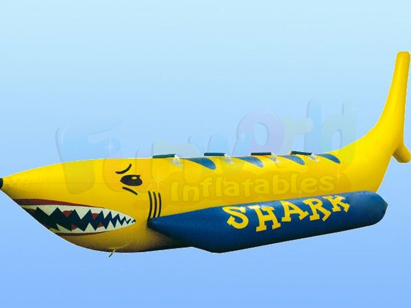Fun inflatable water attraction shark flying fish banana boat for sale inflatable boat