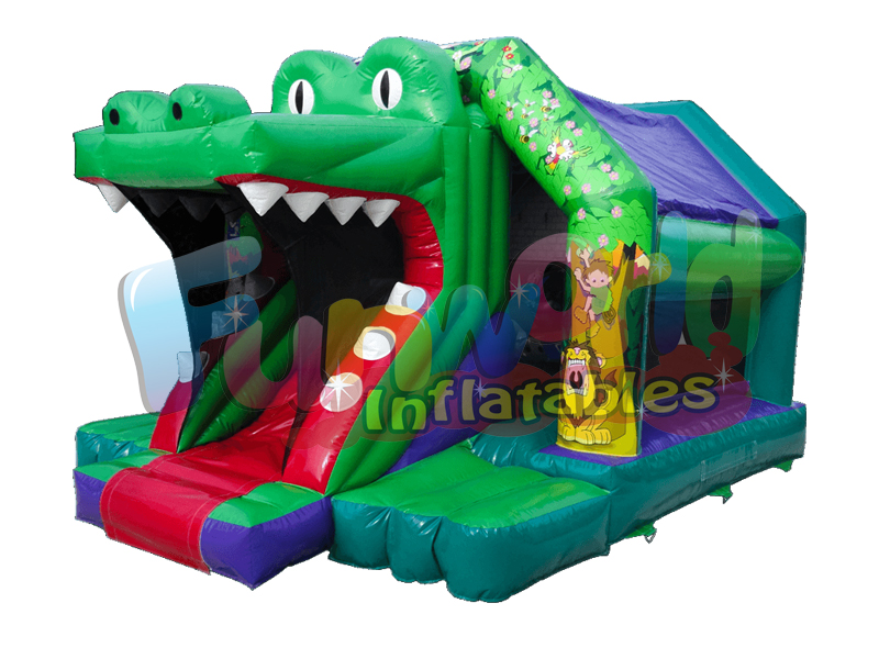 Attractive crocodile inflatable bouncer croco front slide bouncer infants bouncy castle