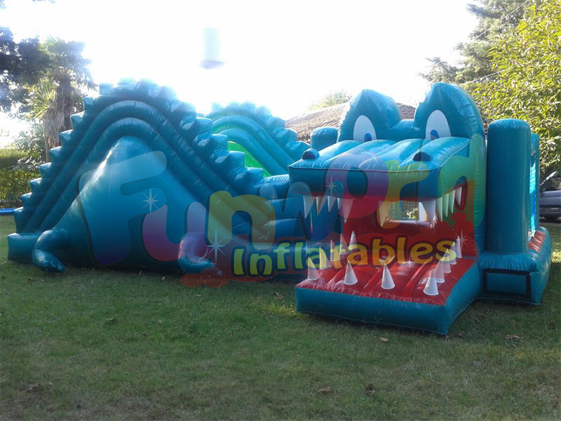 Dry bouncy slide inflatable crocodile snappy slide gator hide and slide