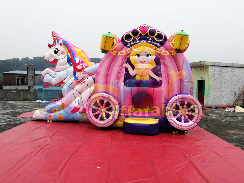 Hot unicorn bouncy castle with slide combo inflatable castle for sale bounce house slide