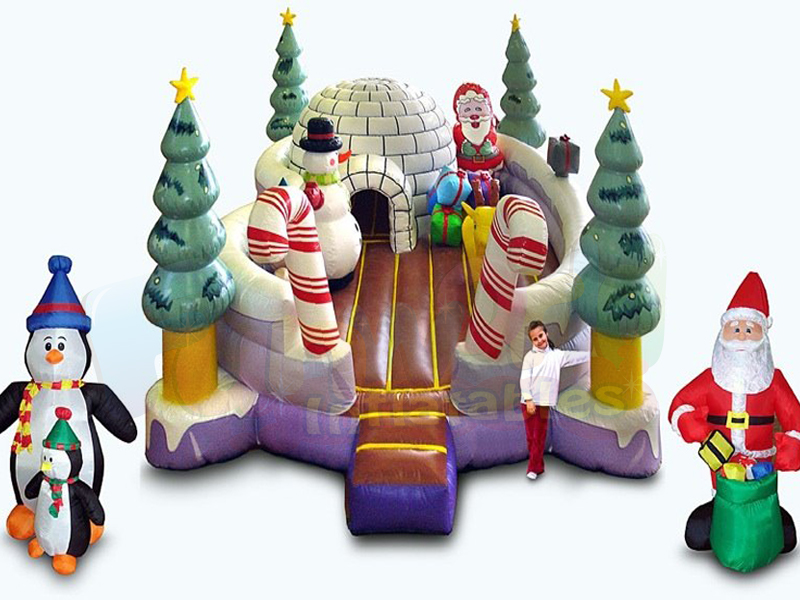 Merry christmas inflatable playground santa claus inflatable amusement structure