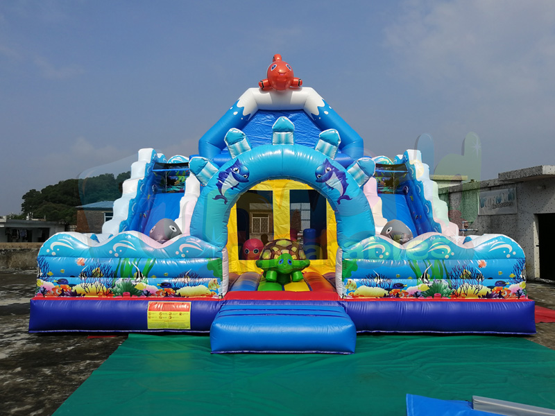 kids inflatable playground dolphin theme jumping castle with slide inflatable playground on sale