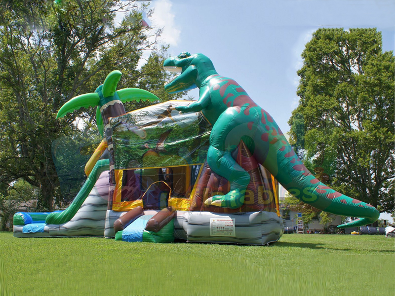 Jurassic dinosaur park inflatable water slide combo bounce house with slide