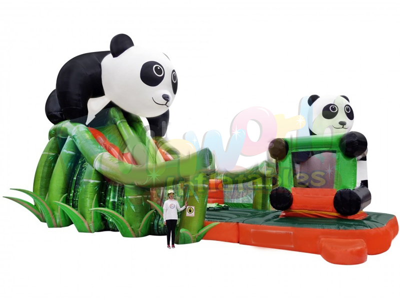 Kids bouncy house jumping castle commercial inflatable slide inflatable panda