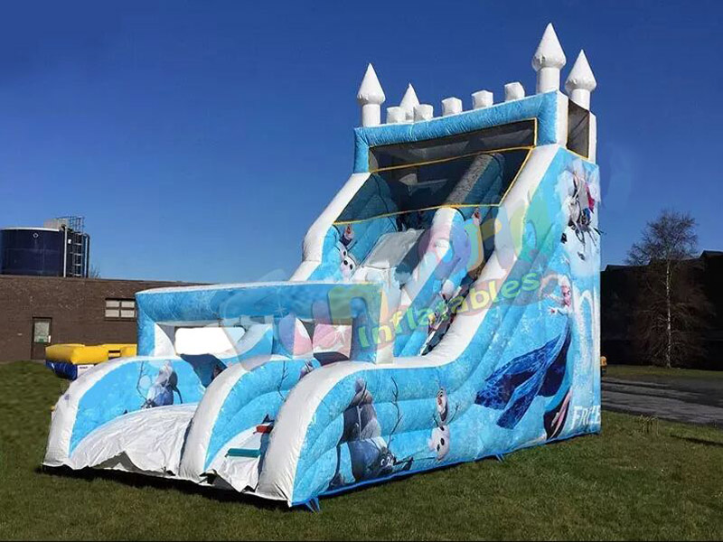 Outdoor kids inflatables frozen slide frozen bounce house with slide