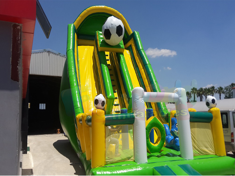 Football theme commercial inflatable bouncer slide slippery amusement park