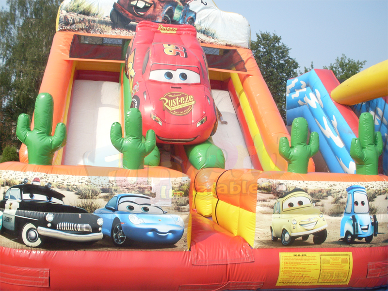 Double lanes car themed inflatable slide air filled pvc bouncy slide for kids