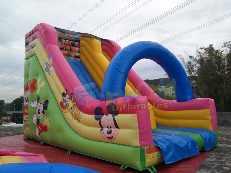 Customized commercial 0.55mm PVC mickey mouse inflatable dry slide for fun
