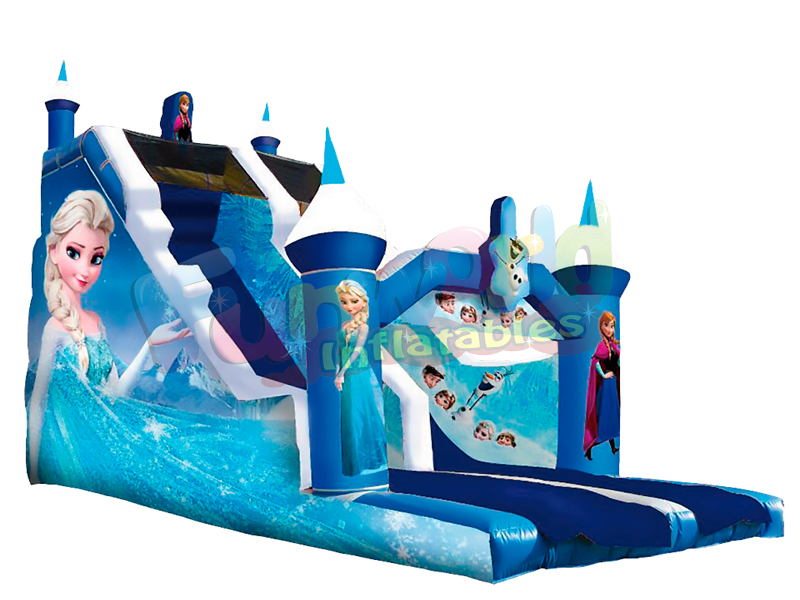 Ice theme customized inflatable castle slide commercial blow up frozen slide