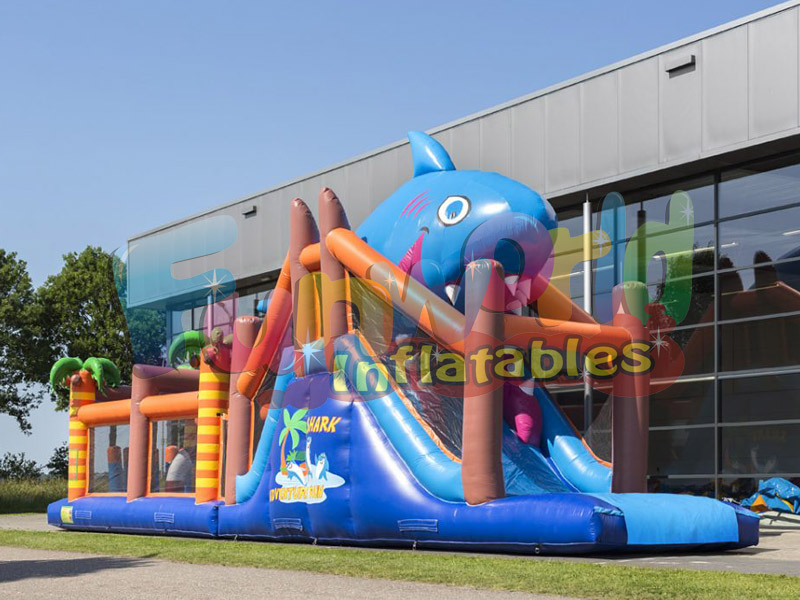 Amzing shark assault course used obstacle course for sale inflatable obstacle run shark
