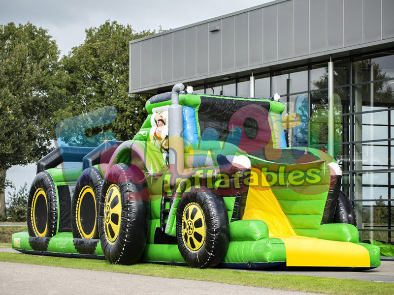 Cmmercial tractor bouncy castle obstacle course tractor inflatable bouncer with slide