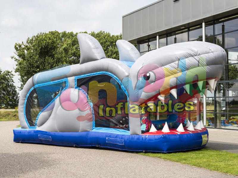 Small obstacle track bounce round inflatable mini run shark on sale for fun