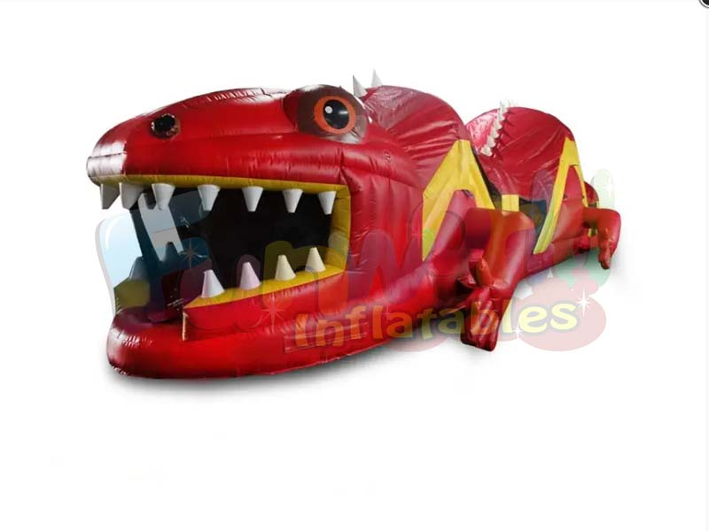 Red lizard obstacle course bounce house combo inflatable game trampoline