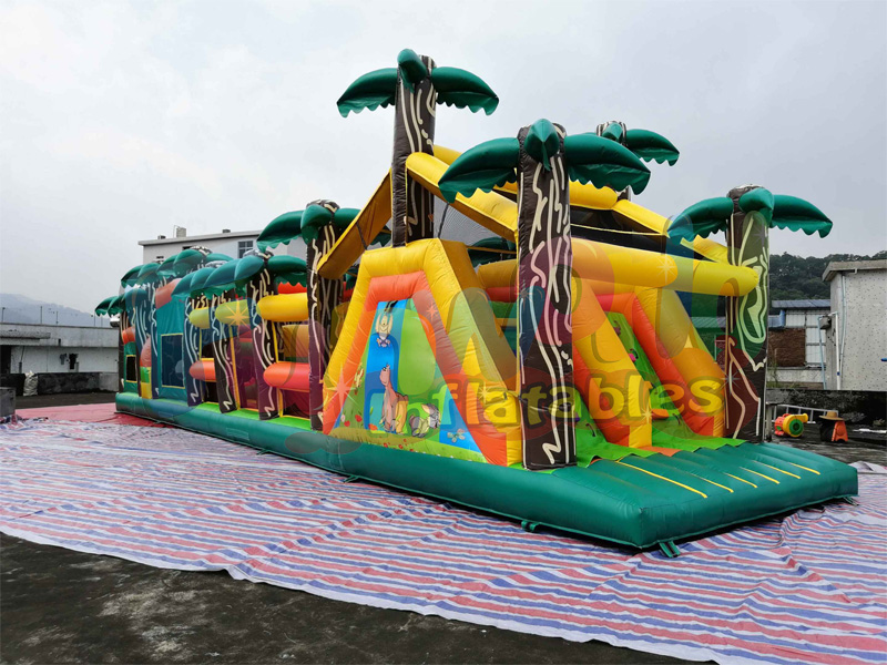 Outdoor bouncy adult inflatable obstacle course  kids obstacle course equipment