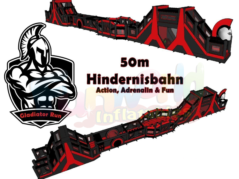 Hindernisbahn assault challenge course Gladiator Run inflatable obstacle course