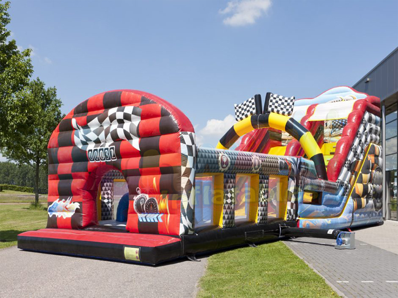 Race track slide bouncy castle inflatable assult obstacle course with multiplay area