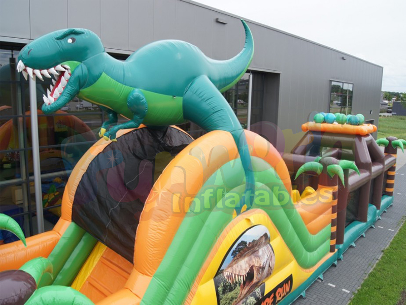 Various 3D digital printing sport inflatable games inflatable dinosaur obstacle course