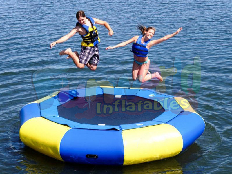 Cheap floating inflatable water trampoline for kids sale party rentals pool toys