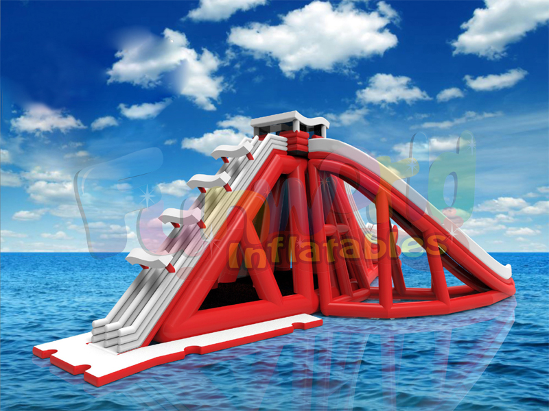 Aquatic inflatable obstacle course pool slide inflatable water park