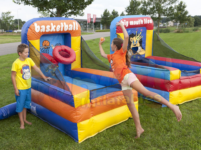 Interactive party inflatable basketball hoop shooting game
