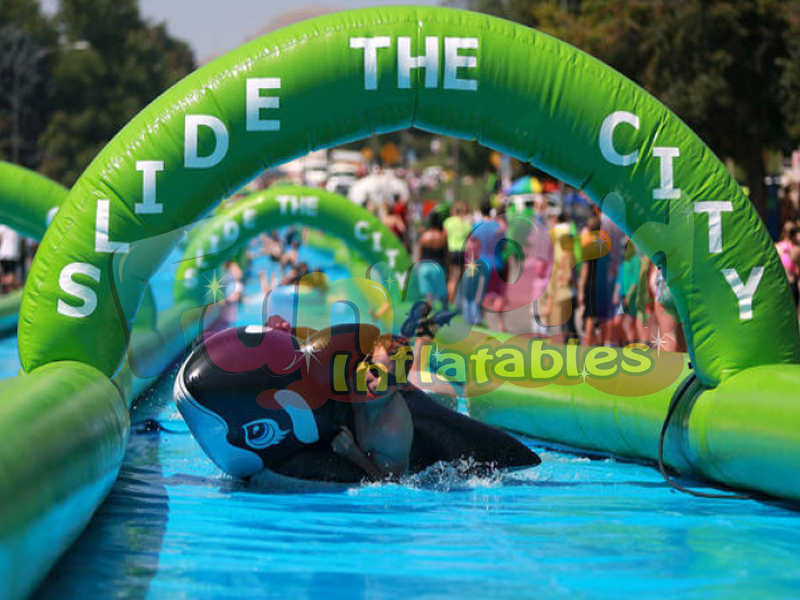 Longest inflatable water slide the city slip and slide